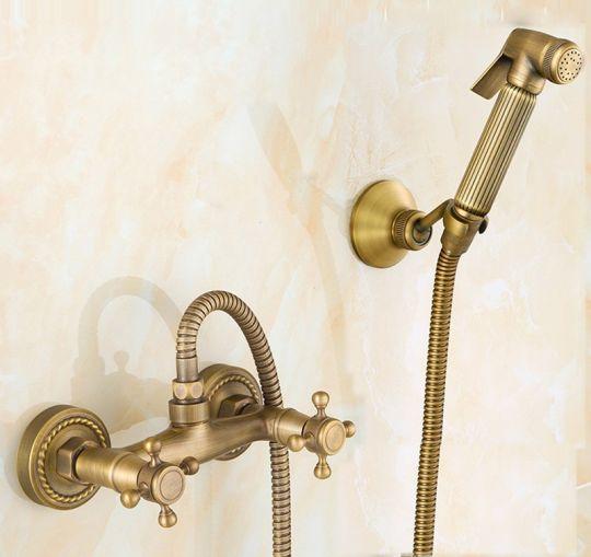 Смеситель с кнопочной лейкой Antique Brass 1135